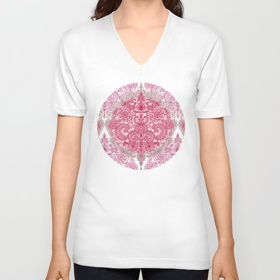 Happy Place Doodle in Berry Pink, Cream & Mauve V-neck T-shirt