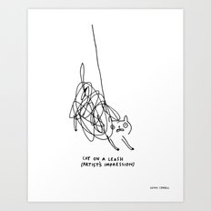 Cat on a Leash Art Print