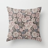Flowers & Swallows Throw Pillow