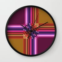 Purplish-Red And Gold Co… Wall Clock