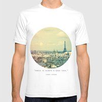 Pale Paris Mens Fitted Tee White SMALL