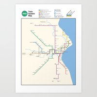 Milwaukee Transit System Map Art Print