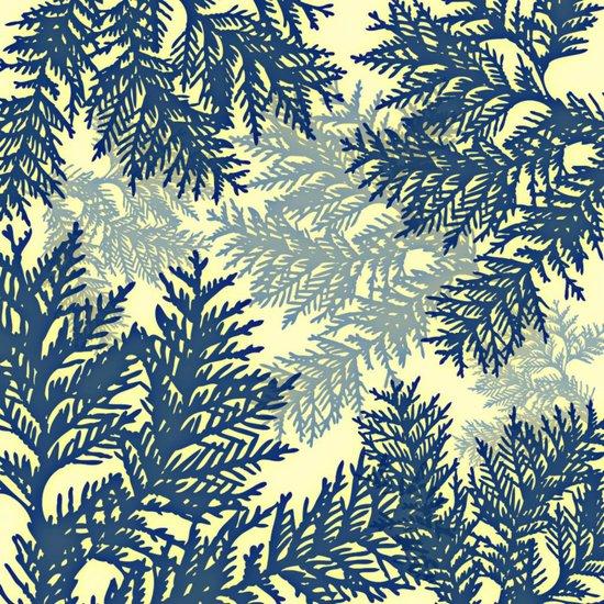 Pine Branches: Blue & Cream Art Print