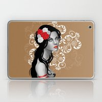 Goth Girl with Flowers in her Hair Laptop & iPad Skin