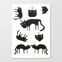 Little cats in colourful hats Canvas Print