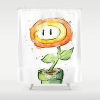 Fireflower Mario Waterco… Shower Curtain