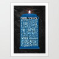 doctor Art Prints featuring Doctor Who  by Luke Eckstein