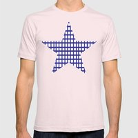 LINES in INDIGO Mens Fitted Tee Light Pink SMALL