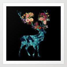 Sprint Itself Deer Floral Dark Art Print