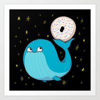 Pluto's Whale And Donut Art Print