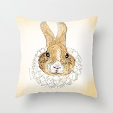 Roller Bunny Throw Pillow