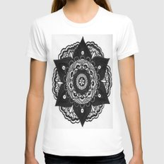 Flower Mandala Number 2 Womens Fitted Tee White SMALL