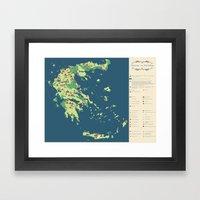 MAP OF GREECE Framed Art Print