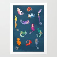 Many Mermaids Art Print