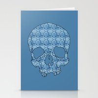 Vintage blue skull Stationery Cards