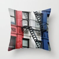 NYC Red White Blue Throw Pillow