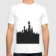 Seattle City Skyline in Black and white Mens Fitted Tee White SMALL