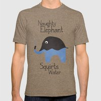 Naughty Elephant Squirts… Mens Fitted Tee Tri-Coffee SMALL