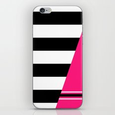 Black, white and neon pink stripes iPhone & iPod Skin