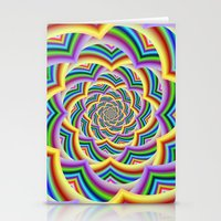 Colorful Curved Chevron Spiral Stationery Cards