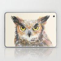 Owl Grey Horned Watercolor Laptop & iPad Skin