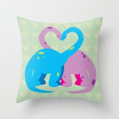 dino love pillow Throw Pillow