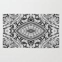 Elegant Black White Floral Lace Damask Pattern Rug
