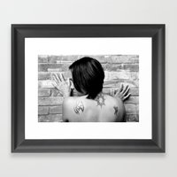 Tattooed Girl Against Br… Framed Art Print