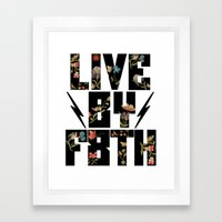 LIVE BY F8TH FLORAL Framed Art Print