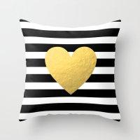 Gold Heart Throw Pillow