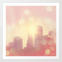 City of Lights. downtown Los Angeles skyline photograph Art Print