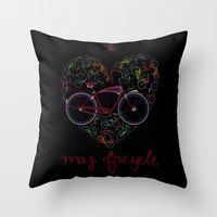 I Love My Bicycle Throw Pillow