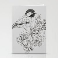 Cole Tit & Roses // Hand Drawn Print Stationery Cards