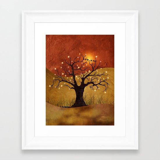 sunset and lights Framed Art Print