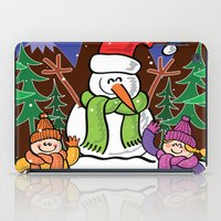 Christmas Snowman and Children iPad Case