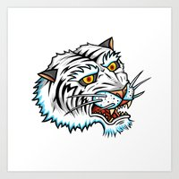Traditional White Bengal Tiger Art Print