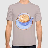 Cat in Coffee Mens Fitted Tee Cinder SMALL