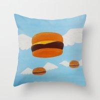 Bob's Flying Burgers Throw Pillow