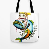 Fish with Girl Hat Tote Bag