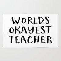 worlds okayest teacher Rug