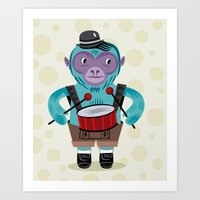 The Monkey Drummer Art Print