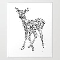 Leafy Deer Art Print