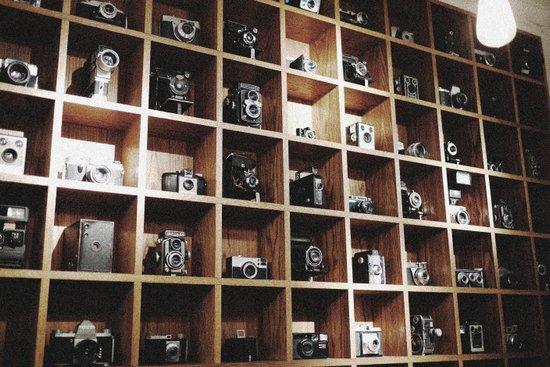 Vintage Camera Affair on Wood. Art Print
