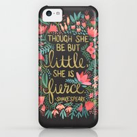 iPhone 5c Cases featuring Little & Fierce on Charcoal by Cat Coquillette