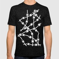 Blue Barb Mens Fitted Tee Tri-Black SMALL