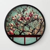 Pink Japanese Magnolia Tree in Flower Wall Clock