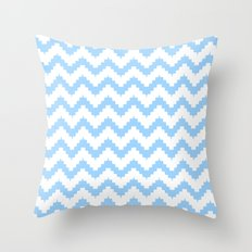 funky chevron blue pattern Throw Pillow
