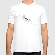 Sledding White SMALL Mens Fitted Tee