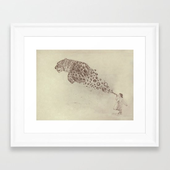 Bubbles the Snow Leopard Framed Art Print