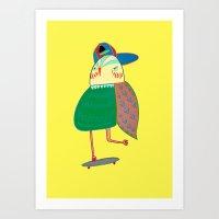 Skateboarding Owl. Art Print